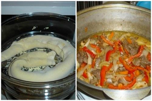 Варка тестовой трубочки и тушение овощей с мясом