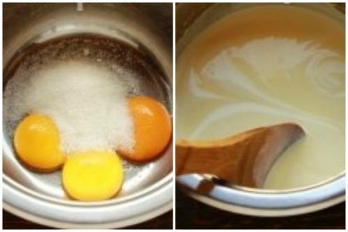 Взбиваем яйца с сахаром и добавляем молоко