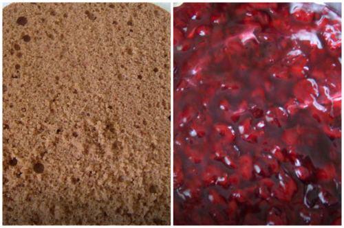 Бисквит и вишневая начинка