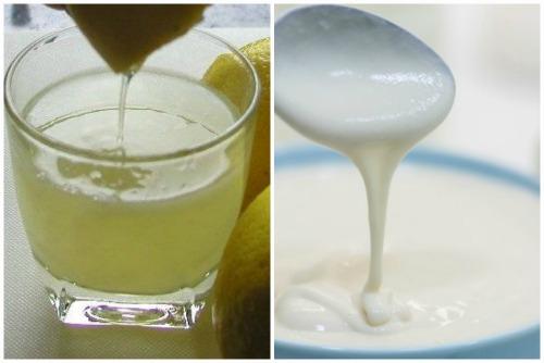 Лимонный сок и йогурт