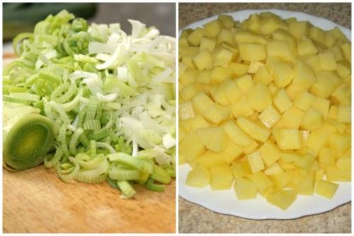 Нарезаем лук-порей и картошечку