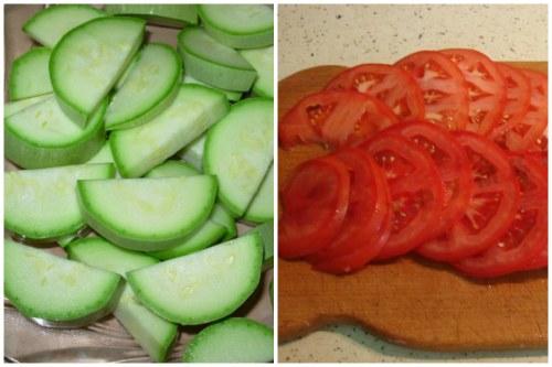 Подготавливаем кабачки и помидорки