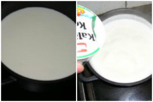 Соединяем молоко и кефир