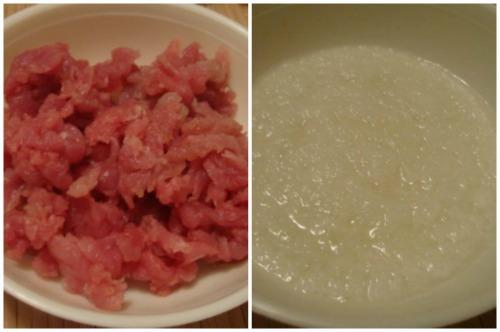 Нарубленное мясо и измельченный лук