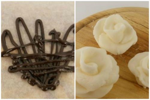 Шоколадная корона и кремовые розочки для украшения тортика