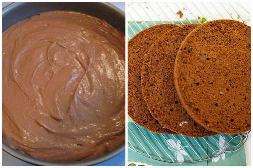 Шоколадное тесто и готовые коржи