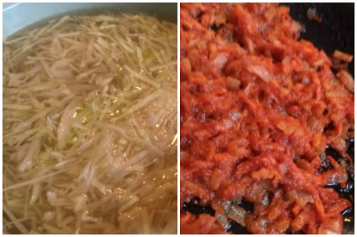 В рыбный бульон закладываем капустку и пассерованные овощи
