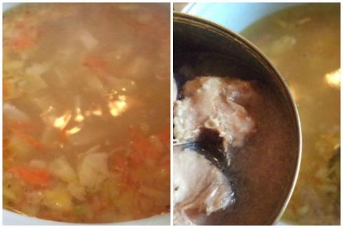 Варка овощей и добавление рыбы