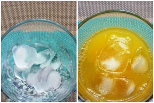 Лед и апельсиновый сок