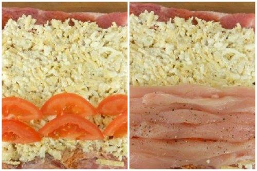 Начинка из помидоров и куриного филе