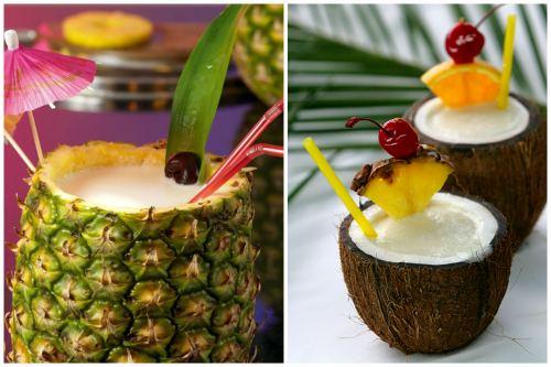 Подача в ананасе и в кокосе