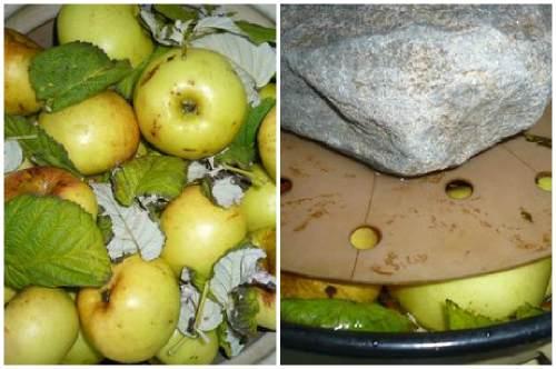 Яблочки со смородиновыми листами