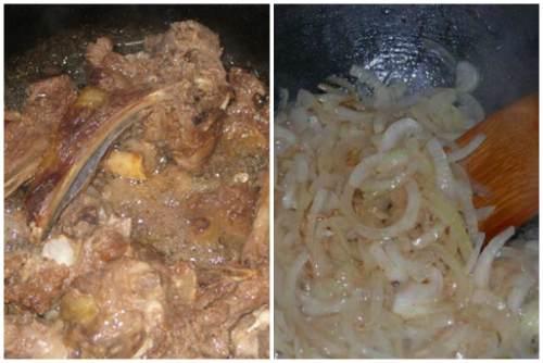 Обжарка мяса и лука