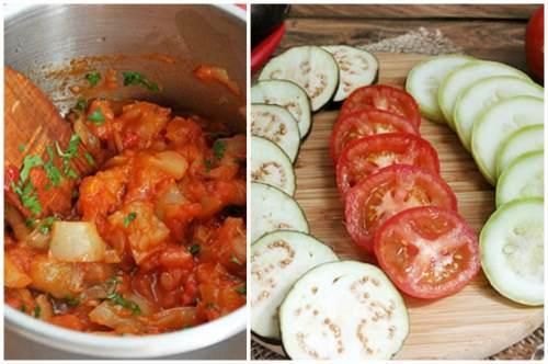 Приготовление соуса и нарезка овощей