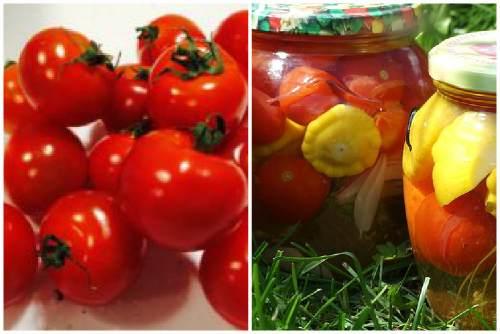 Патиссоны с помидорками