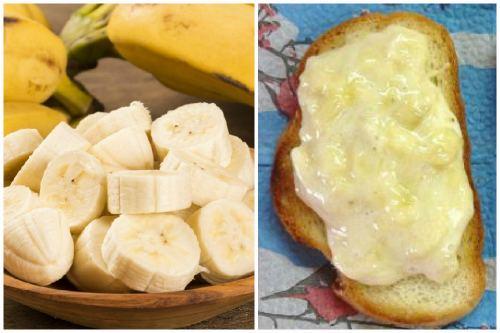 Режем банан и намазываем хлеб