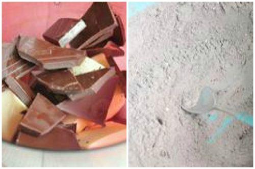 Шоколад и мучная смесь