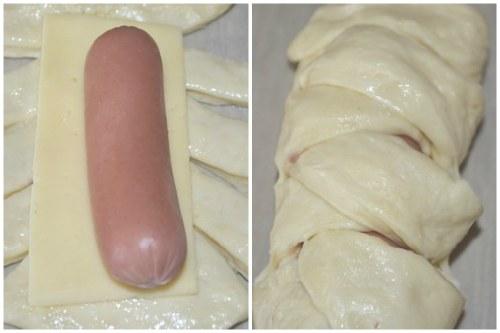 Как заворачивать сосиску с сыром