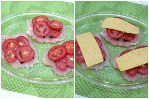 Размещаем помидоры и сыр