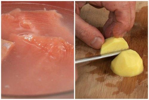 Варим рыбу и режем картошку
