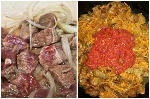 Обжарка с луком и томатной пастой