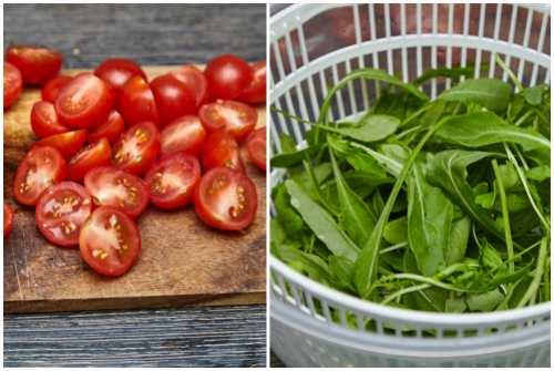 подготовить помидоры и зелень