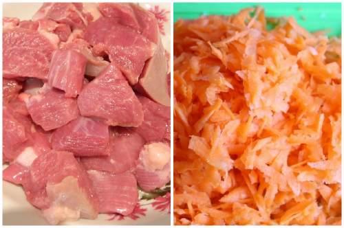 Подготовка мяса и моркови