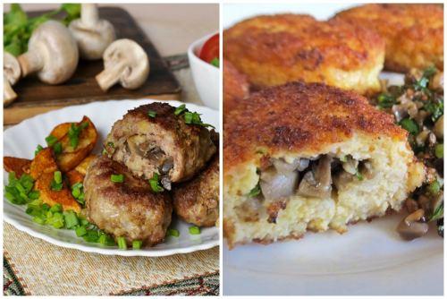 с грибами и мясом