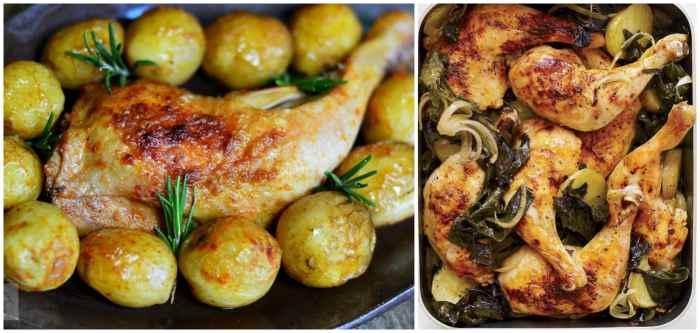 Куриные окорочка и картошка, запечённые в духовке