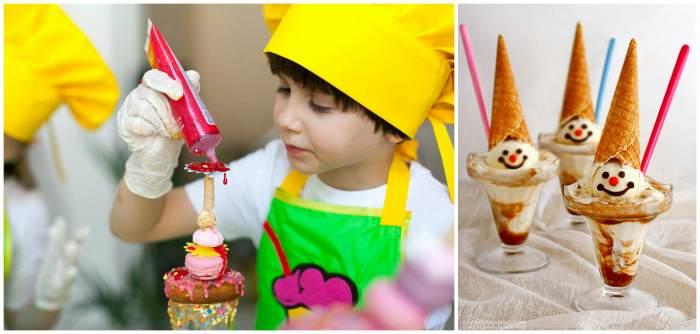 Ребёнок украшает мороженое