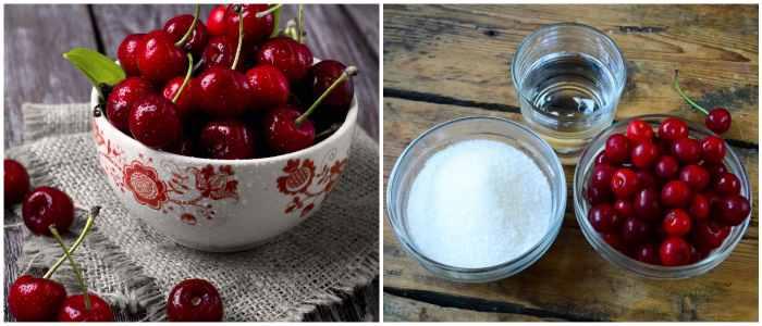 Вишня и сахар для желе