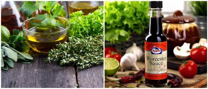 Травы и вустерский соус для маринования ростбифа