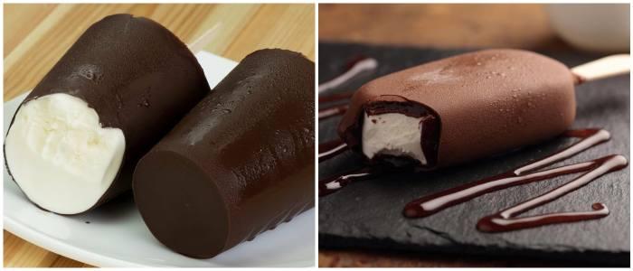 Мороженое пломбир в шоколадной глазури