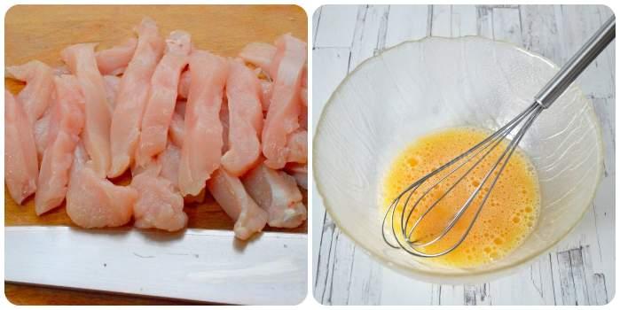 Нарезаем мясо и взбиваем яйца