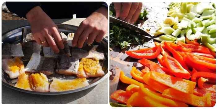 Подготовка рыбы и овощей