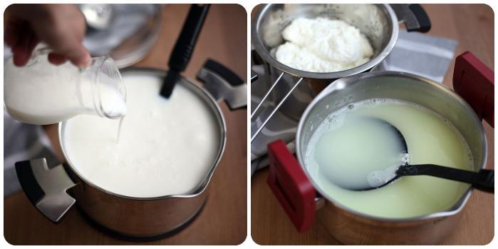 Начальные этапы приготовления сыра