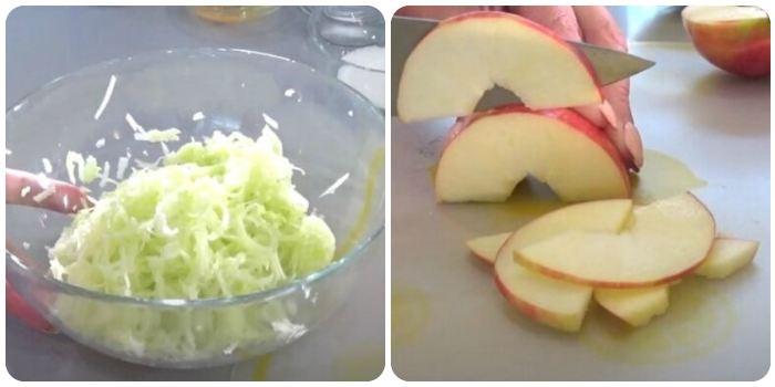 Нарезка кабачков и яблок