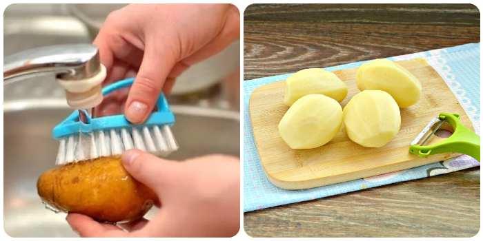 Мытье и чистка картофеля