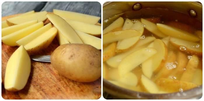 Нарезаем и отвариваем картошку
