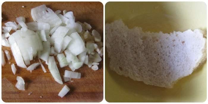 Нарезаем лук и вымачиваем хлеб