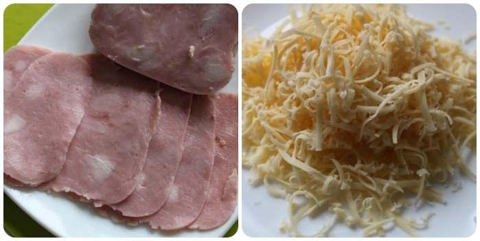 Подготавливаем ветчину и сыр