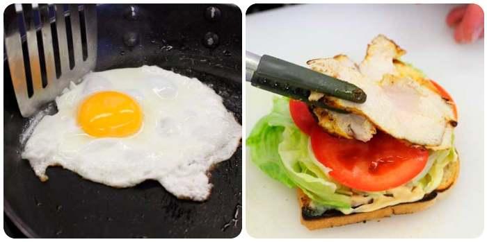 Жарим яйцо и выкладываем филе